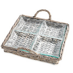 Rattan and Glass Quartered Decorative Tray