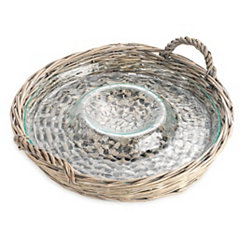 Rattan And Glass Chip And Dip Tray