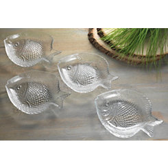 Glass Fish Plates, Set of 4