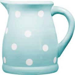 Blue and White Polka Dot Pitcher