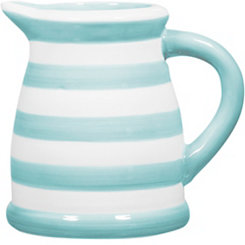 Blue and White Striped Pitcher