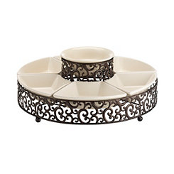 Danbury Metal Scrollwork Chip And Dip Tray