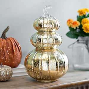 Golden Mercury Glass Pumpkin Statue
