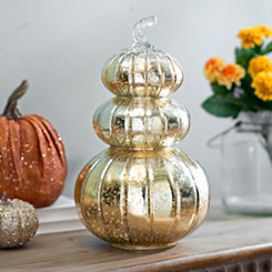 Golden Mercury Glass Pumpkin Finial