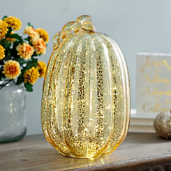 Gold Pre-Lit Mercury Glass Pumpkin