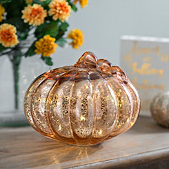 Rose Gold Pre-Lit Mercury Glass Pumpkin