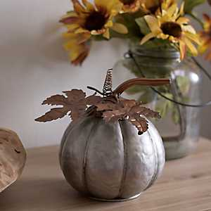 Galvanized Metal Pumpkin, 6 in.