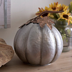 Galvanized Metal Pumpkin, 10 in.