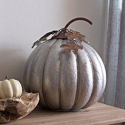 Galvanized Metal Pumpkin, 15 in.