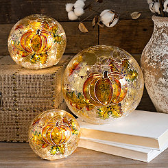 Pre-Lit Painted Glass Pumpkin Orbs, Set of 3
