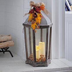 Pre-Lit Wooden Harvest Lantern