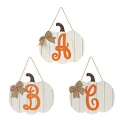 Barnwood Monogram Pumpkin Wooden Plaques