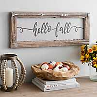 Hello Fall Script Wooden Wall Plaque
