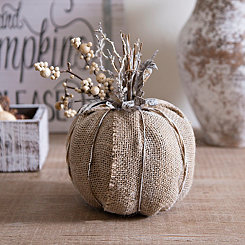 Burlap and Twig Pumpkin Statue, 9.5 in.