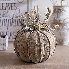 Burlap and Twig Pumpkin Statue, 10 in.