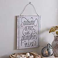 Pumpkins Please Wooden Wall Plaque