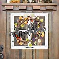 Thankful Wreath Windowpane Wall Plaque