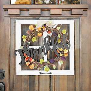 Thankful Wreath Windowpane Wall Plaque