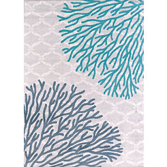 Blue Coral Reef Area Rug, 5x8