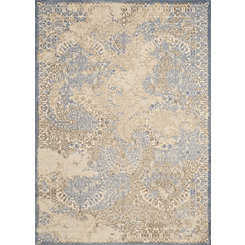 Light Blue Faded Grace Area Rug, 5x8