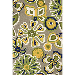 Green Bohemian Apple Area Rug, 5x8