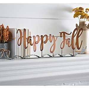Happy Fall Metal Ribbon Word Runner