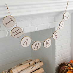 Thankful Wood Slice Pennant Banner