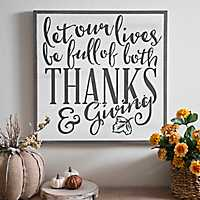 Thanks and Giving Wooden Wall Plaque