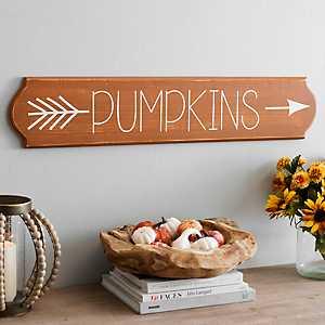 Pumpkins Arrow Wooden Wall Plaque