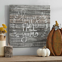 Happy Fall Y'all Laurel Wreath Wood Plank Plaque