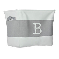 White and Gray Monogram B Fabric Bin