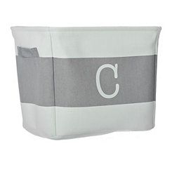 White and Gray Monogram C Fabric Bin