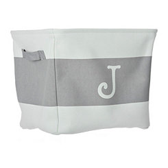 White and Gray Monogram J Fabric Bin