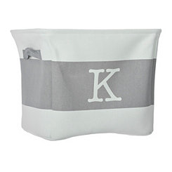 White and Gray Monogram K Fabric Bin