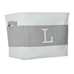 White and Gray Monogram L Fabric Bin