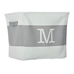 White and Gray Monogram M Fabric Bin