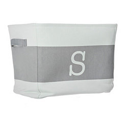 White and Gray Monogram S Fabric Bin