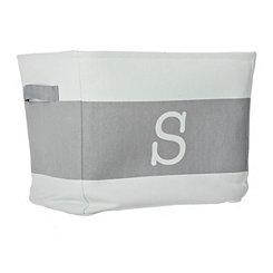 White and Gray Monogram S Fabric Bin