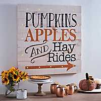 Pre-Lit Pumpkins Apples Hayrides Wood Plank Plaque