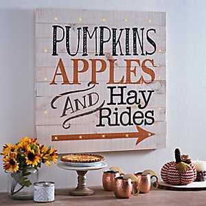 Pre-Lit Pumpkins Apples Hayrides Wood Plank Plaque