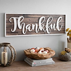 White Thankful Wood Plank Plaque