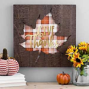 Give Thanks Plaid Leaf Wood Plank Plaque