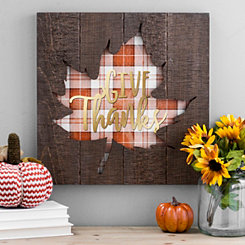 Give Thanks Plaid Leaf Wood Plank Plaque