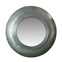 Round Wooden Silver Wall Mirror