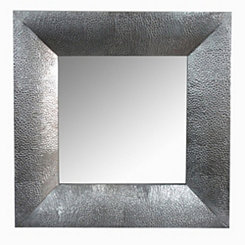 Square Wooden Silver Wall Mirror