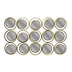 Metal Circles Sculpture Wall Mirror