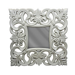 White Scrolled Wall Mirror