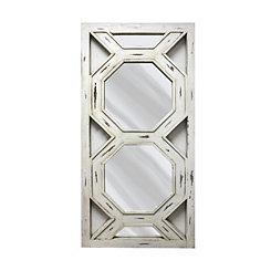 White Octagon Wooden Leaner Mirror