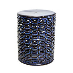 Reactive Blue Pierced Garden Stool