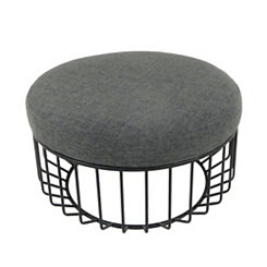 Round Gray Cocktail Ottoman